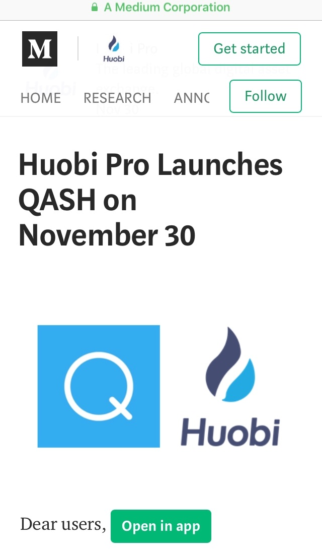 QUOINE QASH Huobi pro