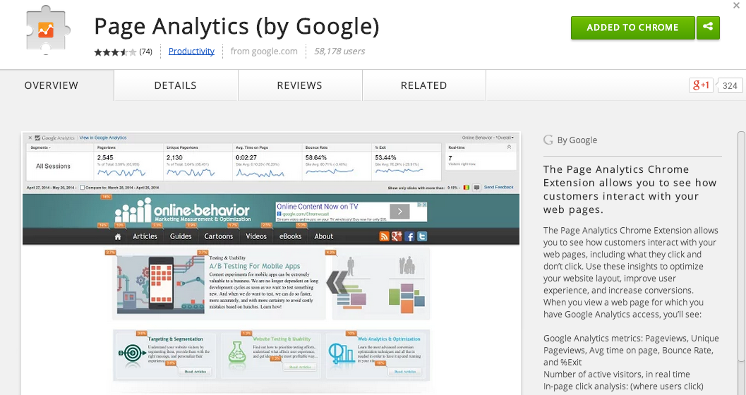 Page Analytics ダウンロード Chrome拡張機能