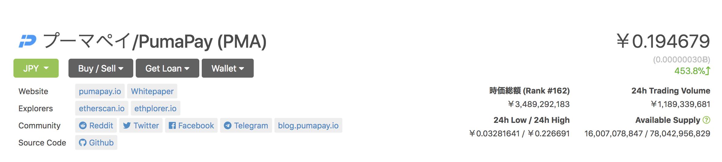 PumaPay(プーマペイ) 10月24日 大高騰