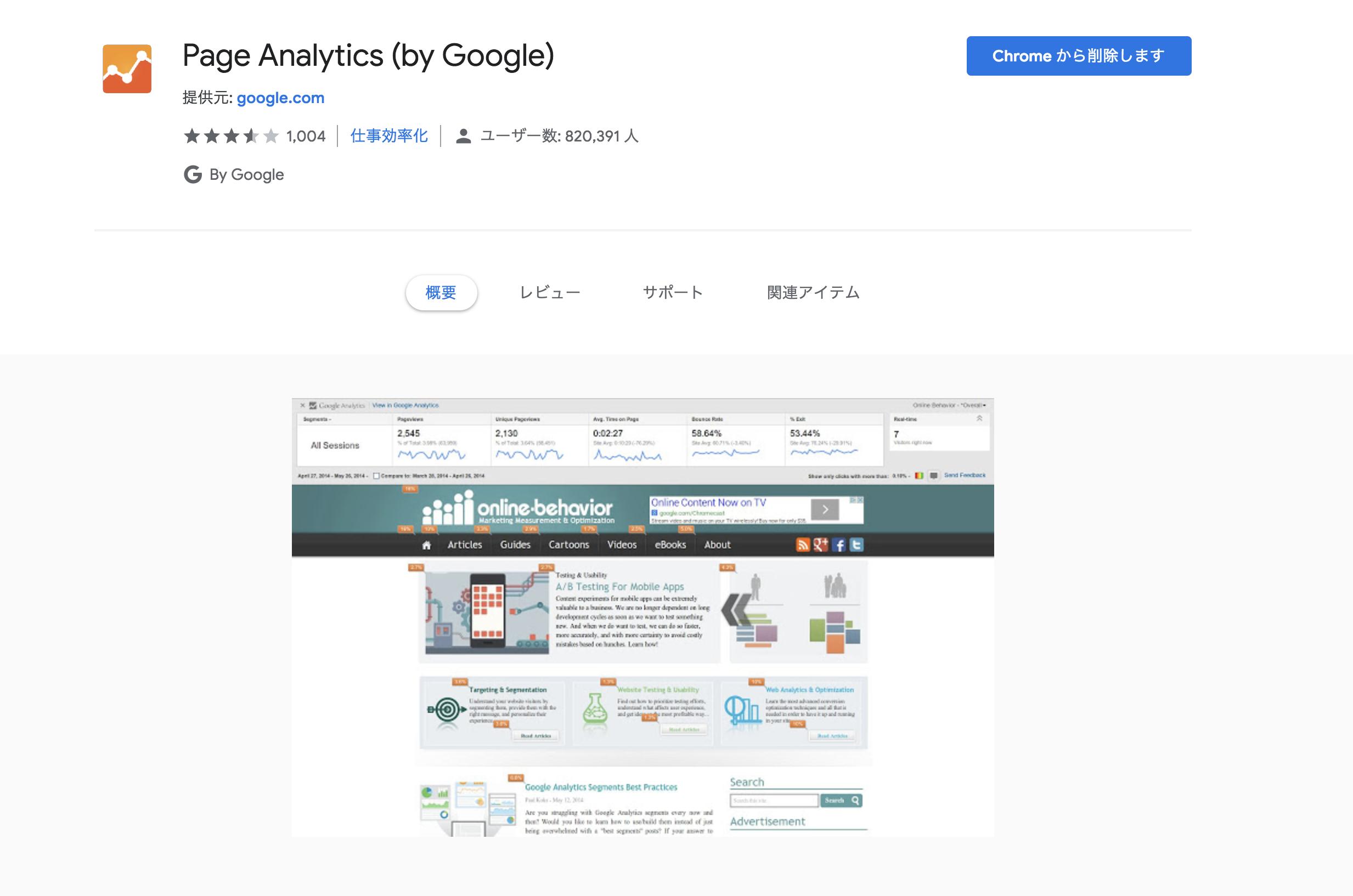 GoogleChrome(グーグルクローム) 拡張機能 Page Analytics