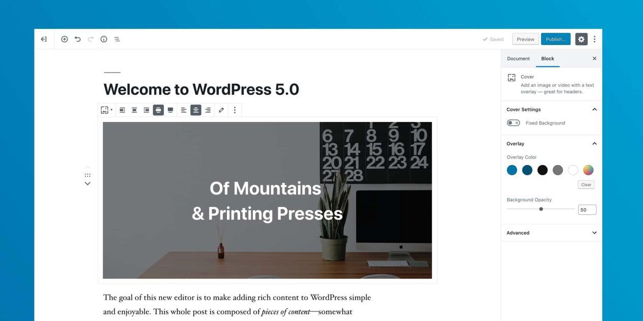 WordPress 5.0 Bebo Gutenberg