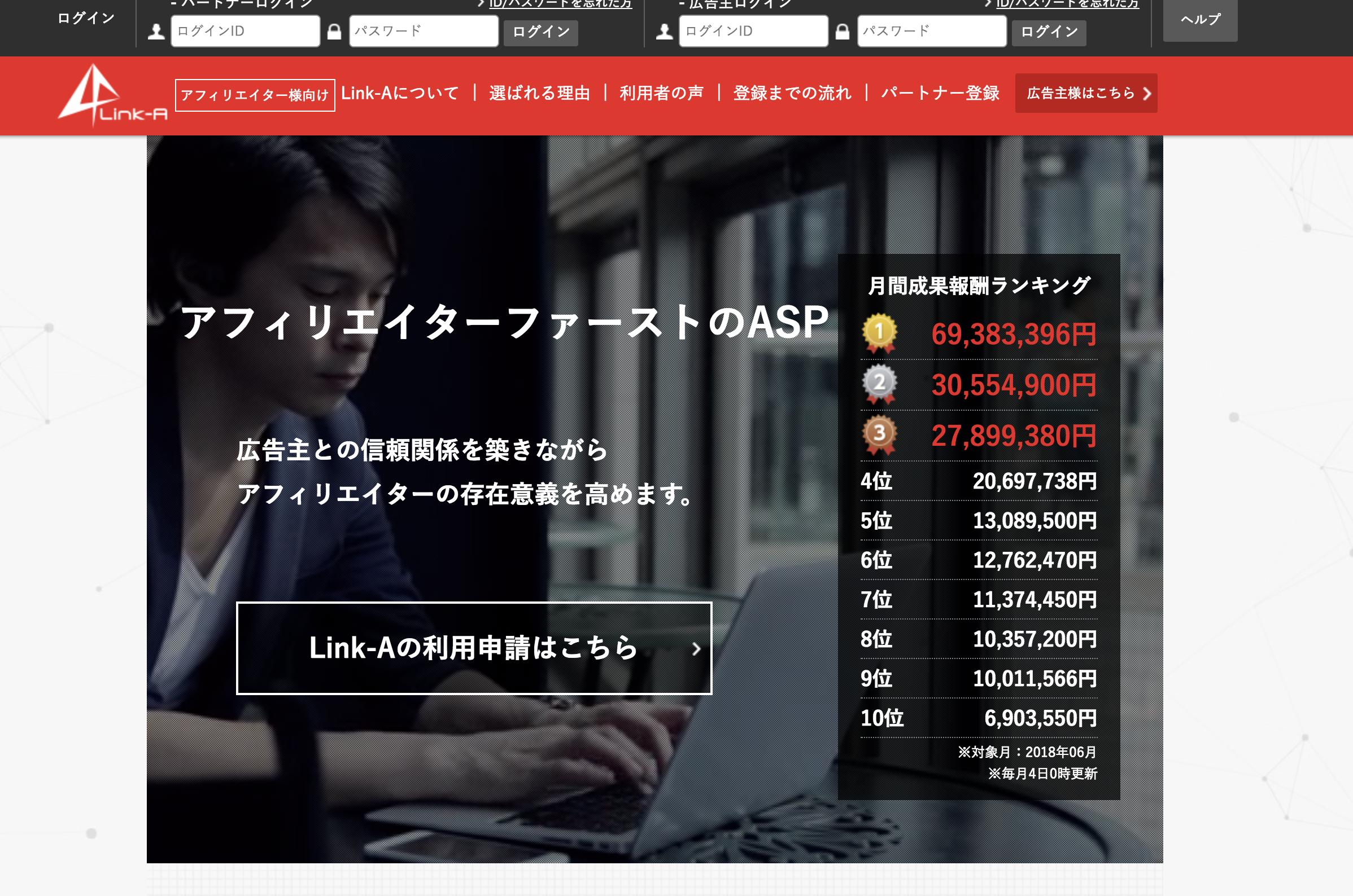アフィリエイト 初心者 オススメASP Link-A(リンクエー)