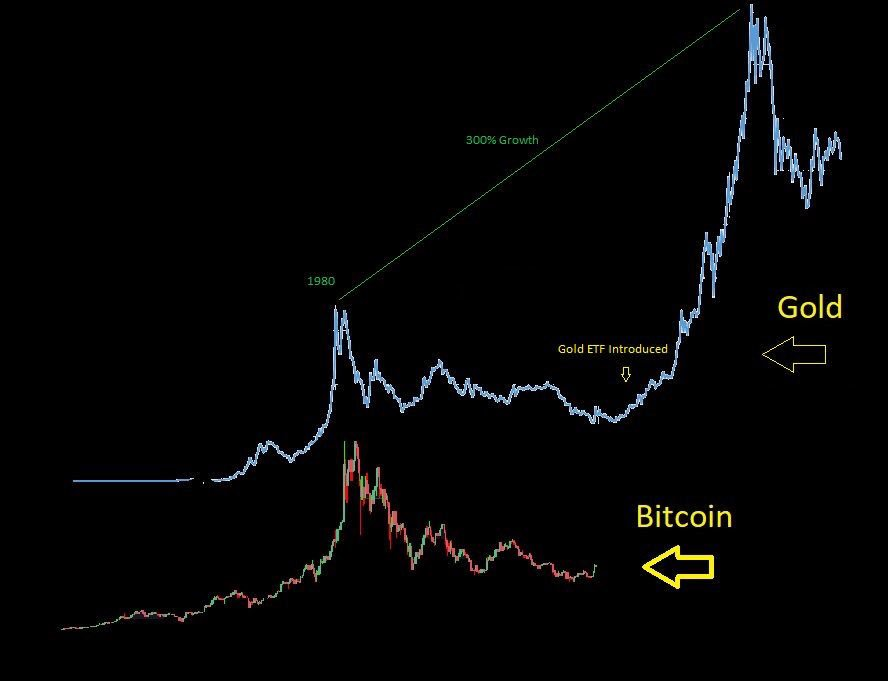 Bitcoin(ビットコイン) 金 ETF承認後 チャート 比較